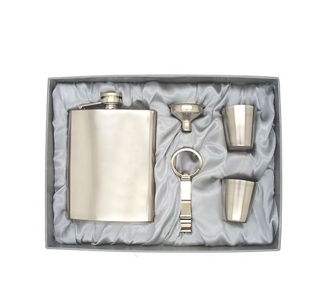 Hip Flask Mirror Finish & Cups Gift Pack
