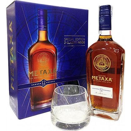 Metaxa 12 Stars Greek Brandy 700ml & Glass Pack
