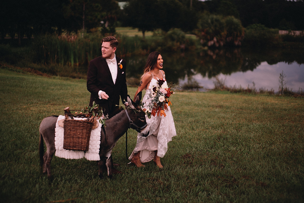 Modern and creative elopement planners: This was a stunning fall beer burro elopement
