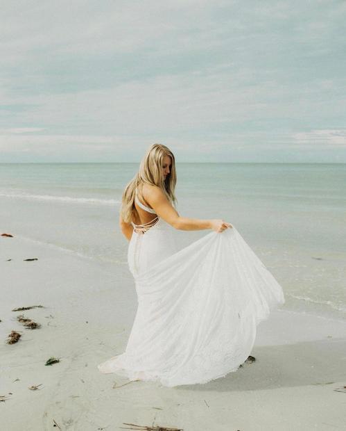bride at the shore