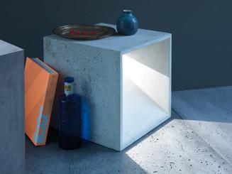 Foto Beton Möbel, Foto Beton Quader, Beton Lampe, concrete furniture
