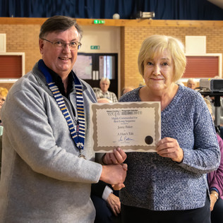 Jenny Baker receiving her certificate