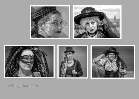 H/C Mono Print - Whitby Characters by Christine Chittock