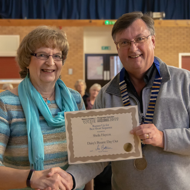 Sheila Haycox receiving certificate