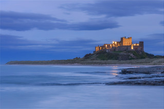 H/c - The Blue Hour Bamburgh Castle by Mo Martin
