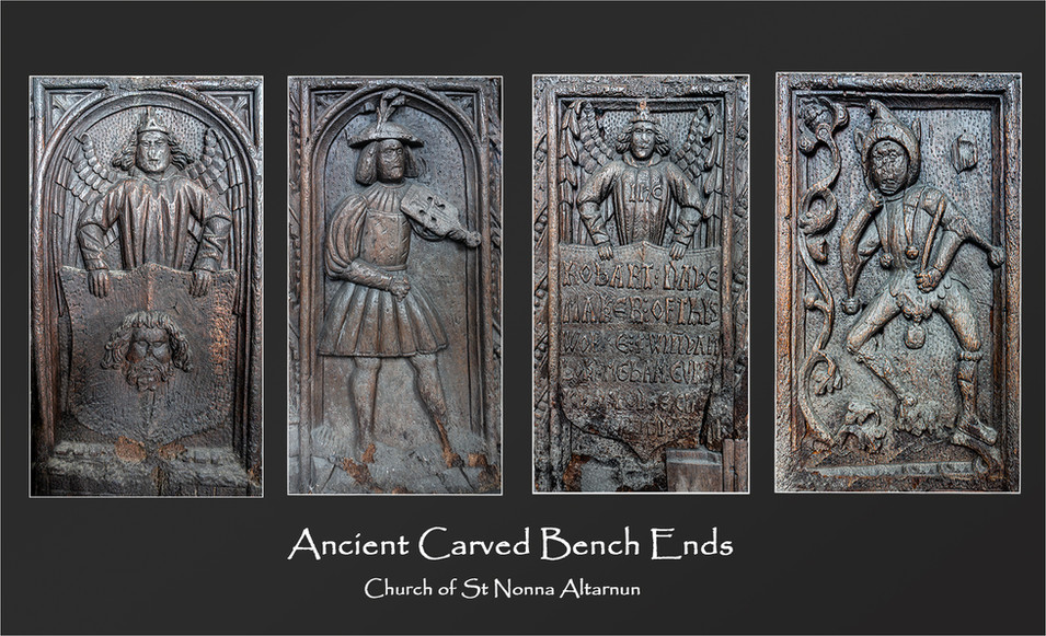 Ancient Carved Bench Ends by Gill Stocker