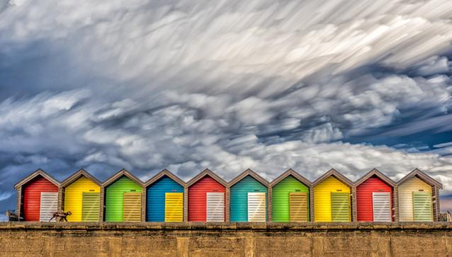 H/C  Blyth Beach Huts by Derrick Holliday