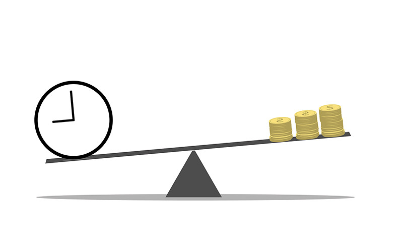 balance time versus money on a scale where time outweighs money