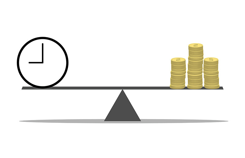 balance time versus money on a scale where both are equal