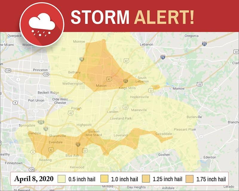 Hail storm map for roofing contractor