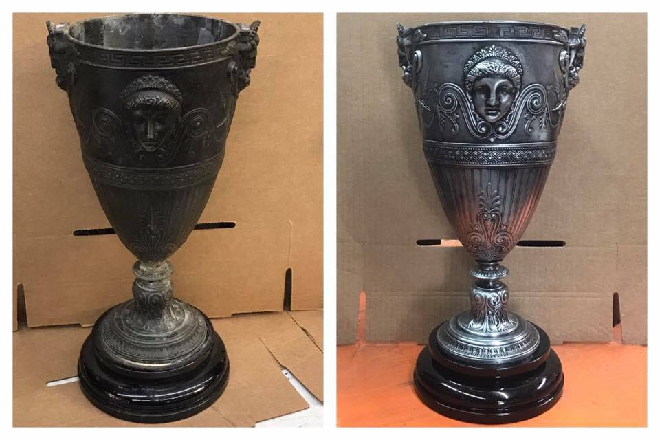 Before/after antique vase
