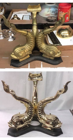 Brass coy fish table base
