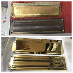 Before/after Brass mailslot w/ cover