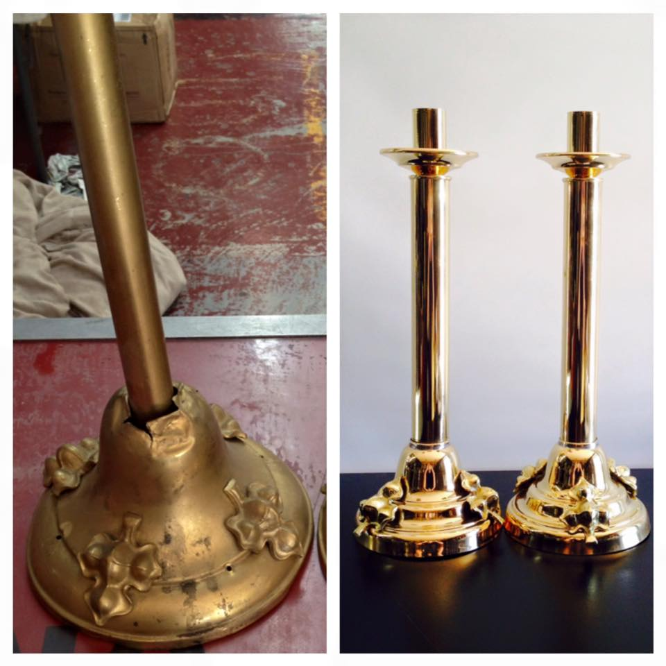 Before/after Brass candlesticks