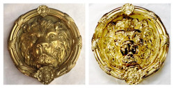 Before/after lion head knocker