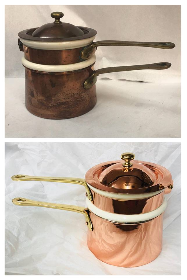 Before/after Copper double boiler