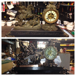 Before/after antique clock