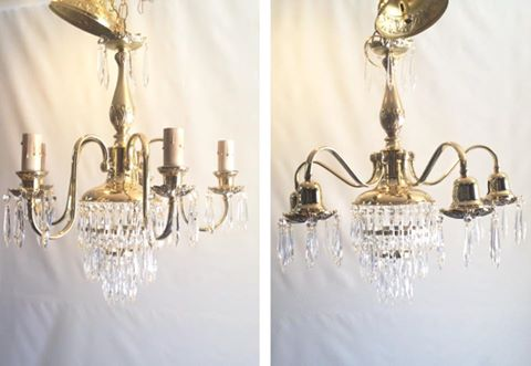 brass chandelier pair