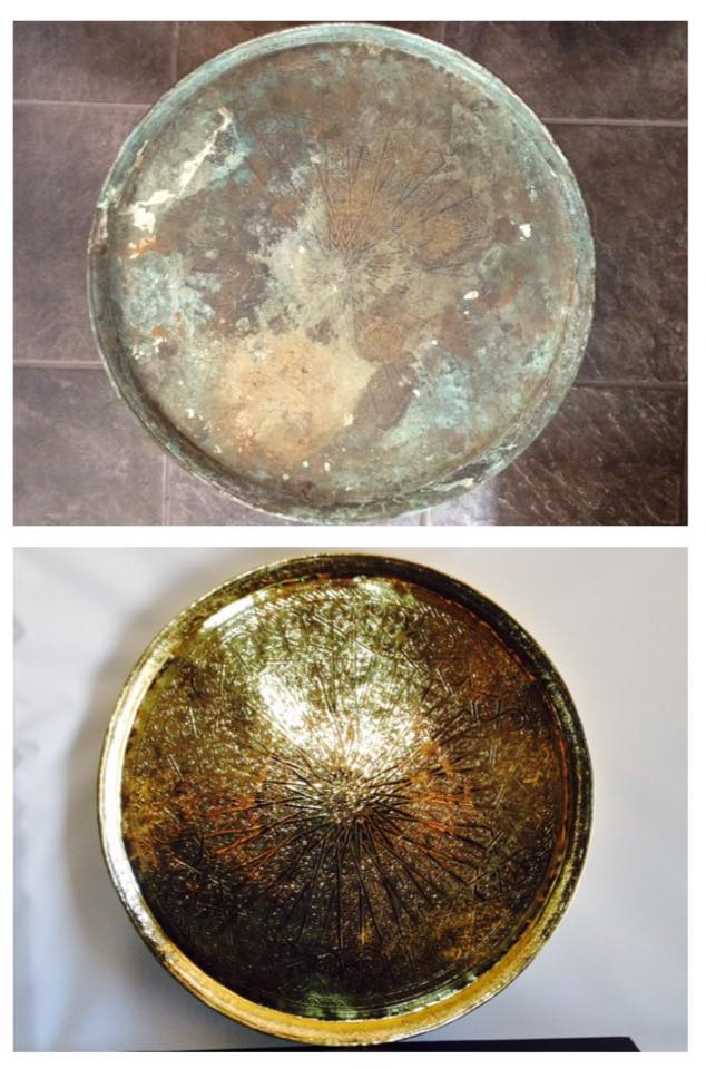 Before/after Brass tray