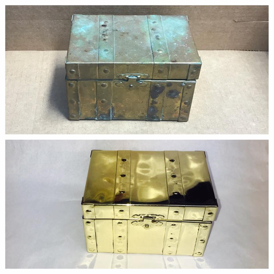 Before/after Brass box