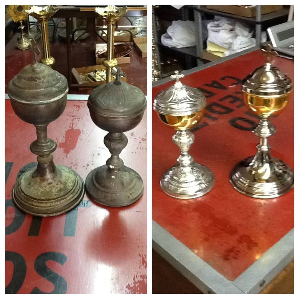 2 gold plus silver chalices before and after