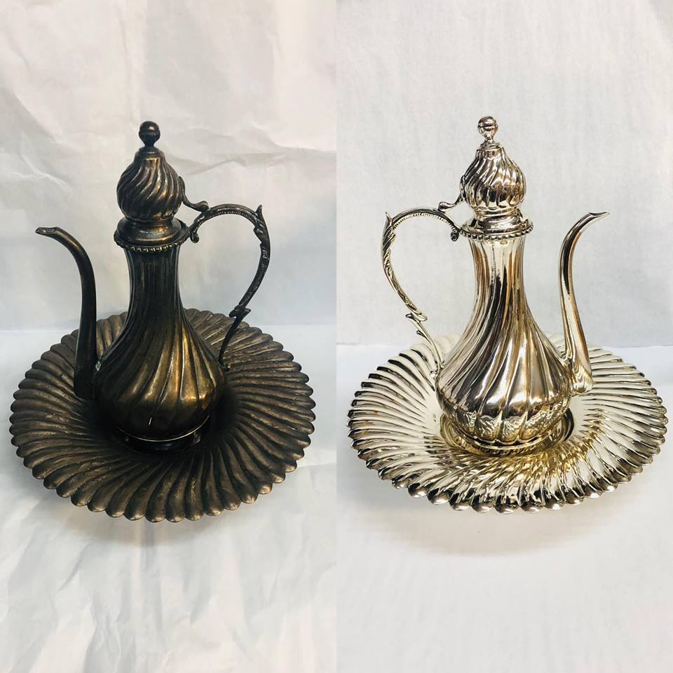 Before/after antique turkish tea pot