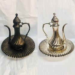 Before/after antique turkish tea pot