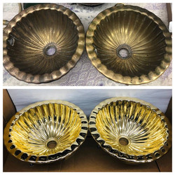 Before/after plantation Brass sinks