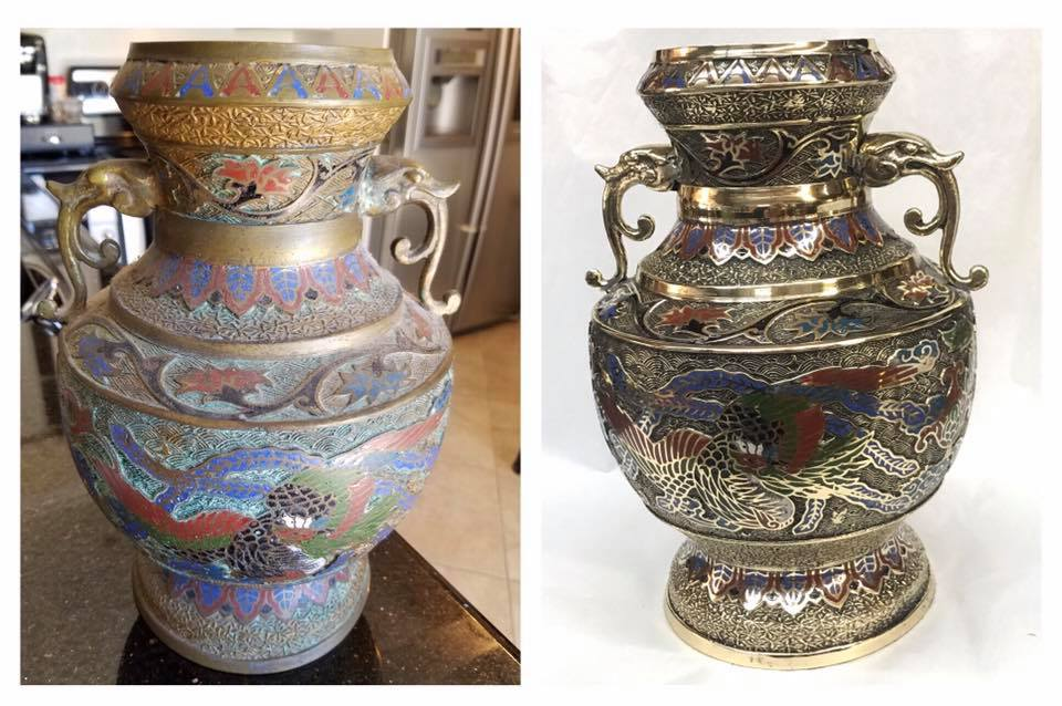 Before/after Brass & enamel vase