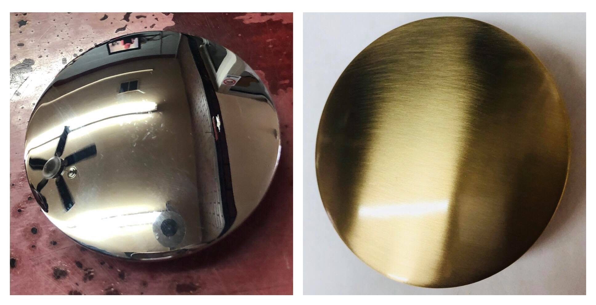 Before/after satin Brass drain