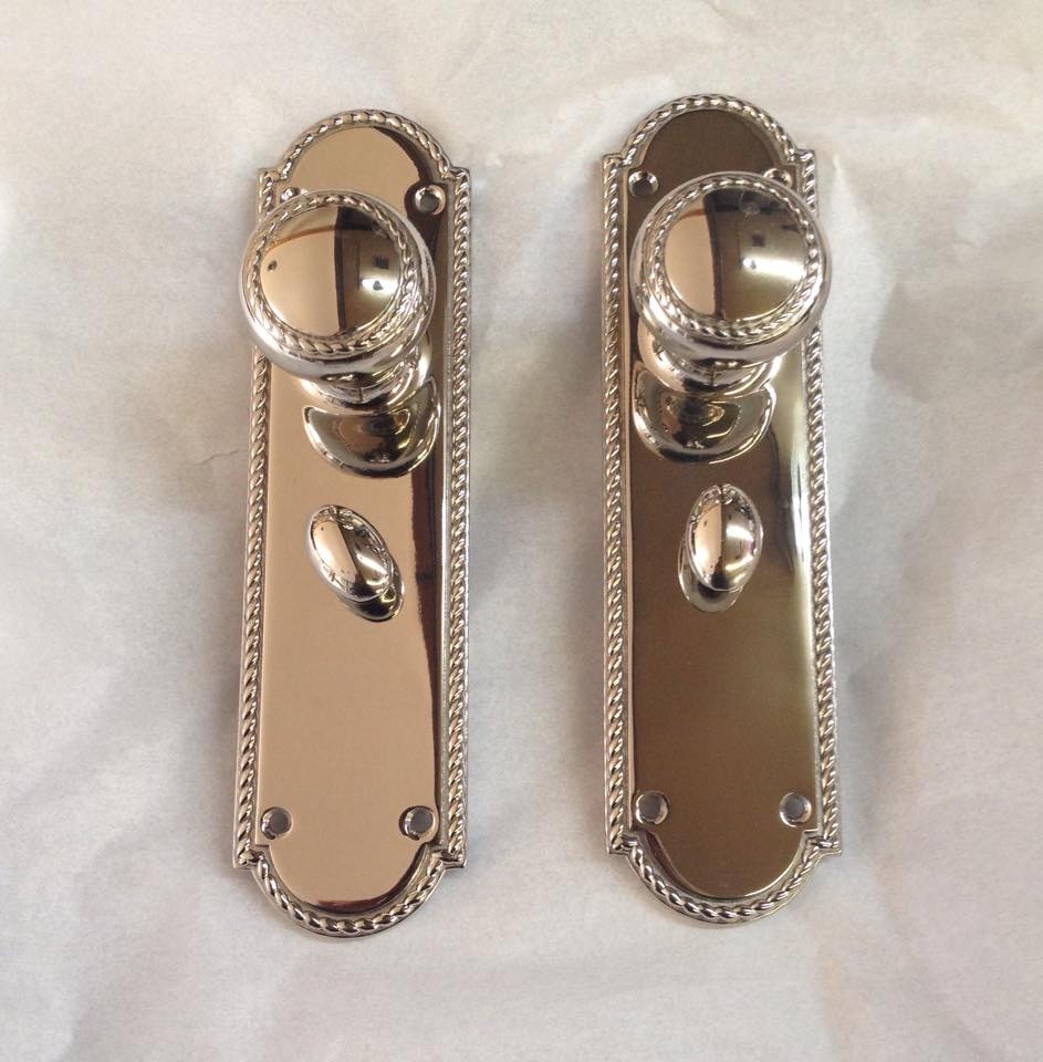 nickel plated door plates with knobs