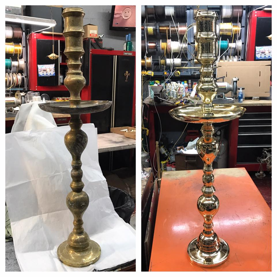 Before/after Brass candlestick