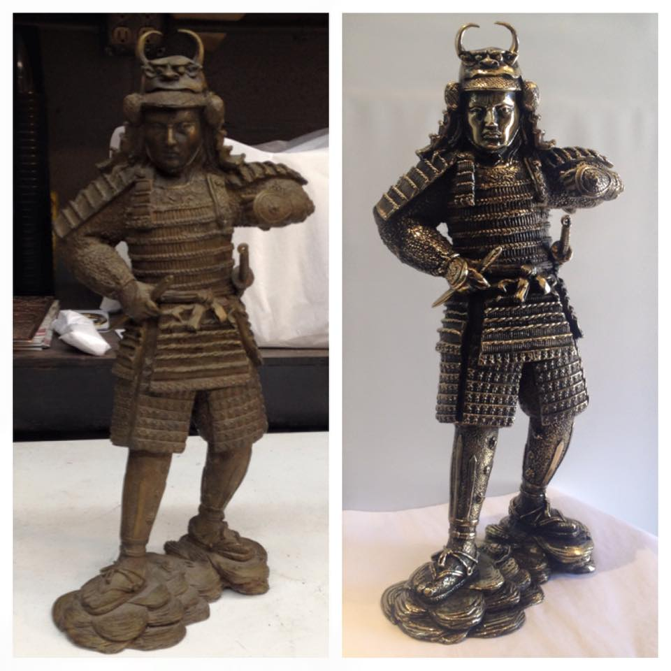 Before/after antique samurai statue