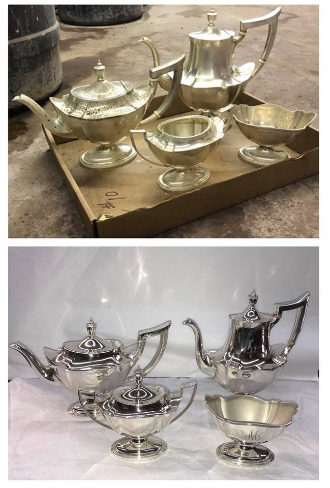 Before/after Sterling tea set