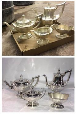 Before/after Sterling tea set