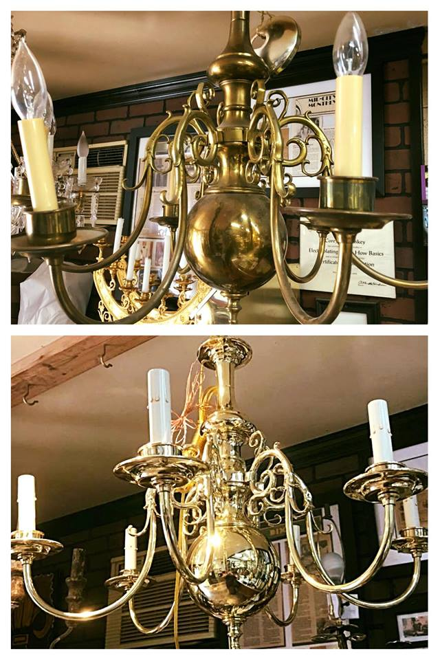 Before/after Williamsburg chandelier