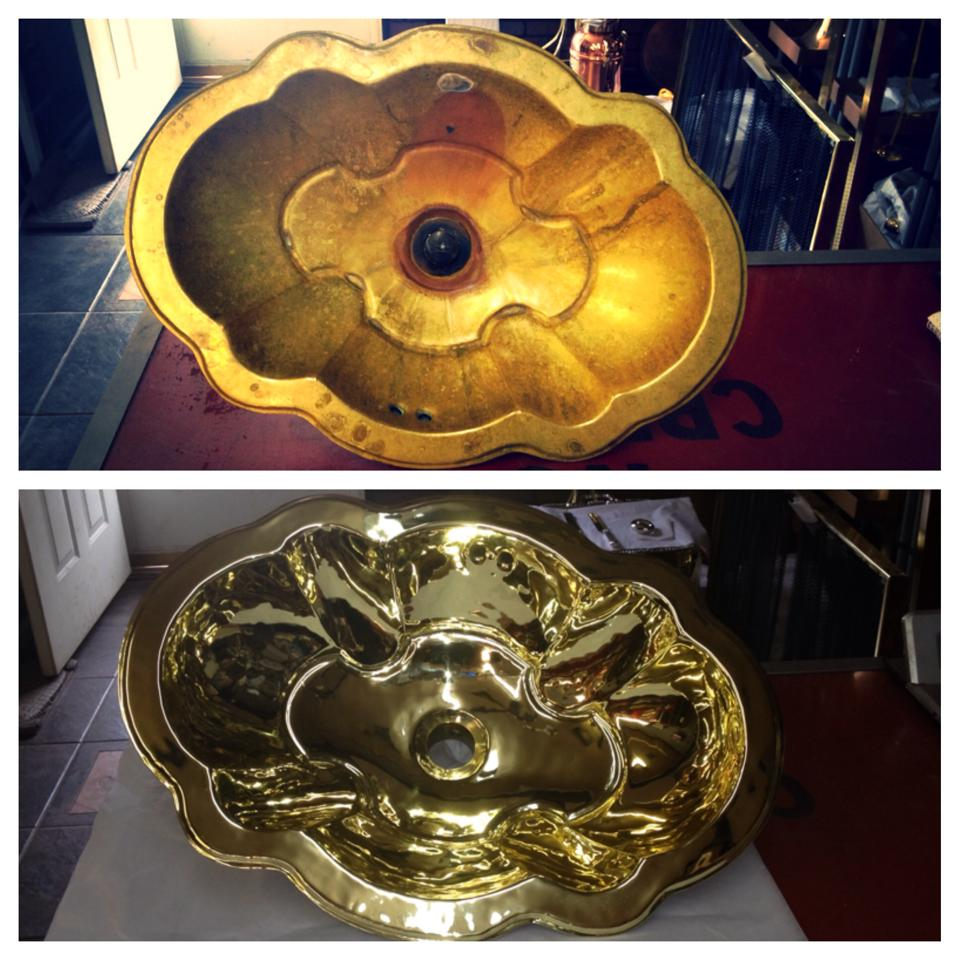 before after brass sink