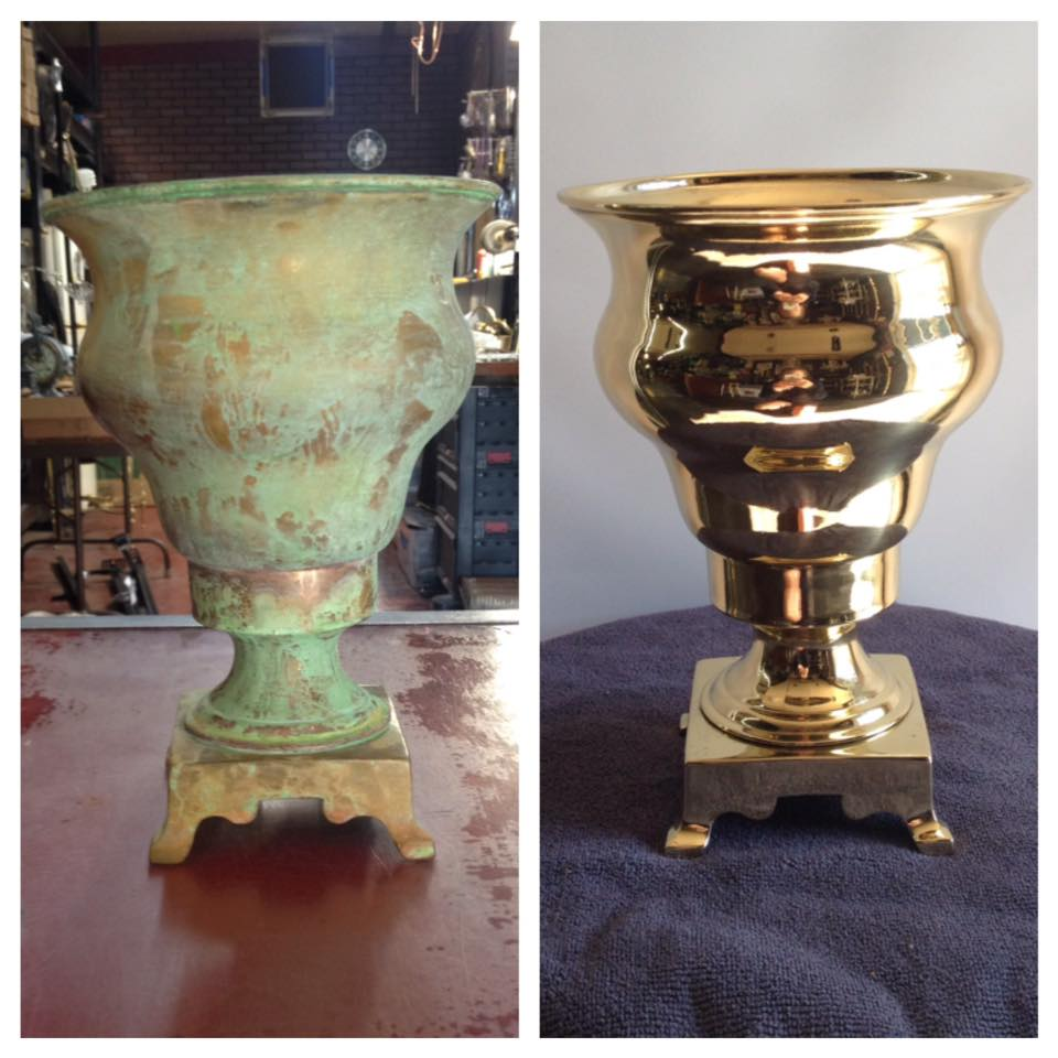 before after brass spittoon