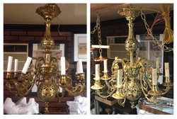 Before/after Brass chandelier