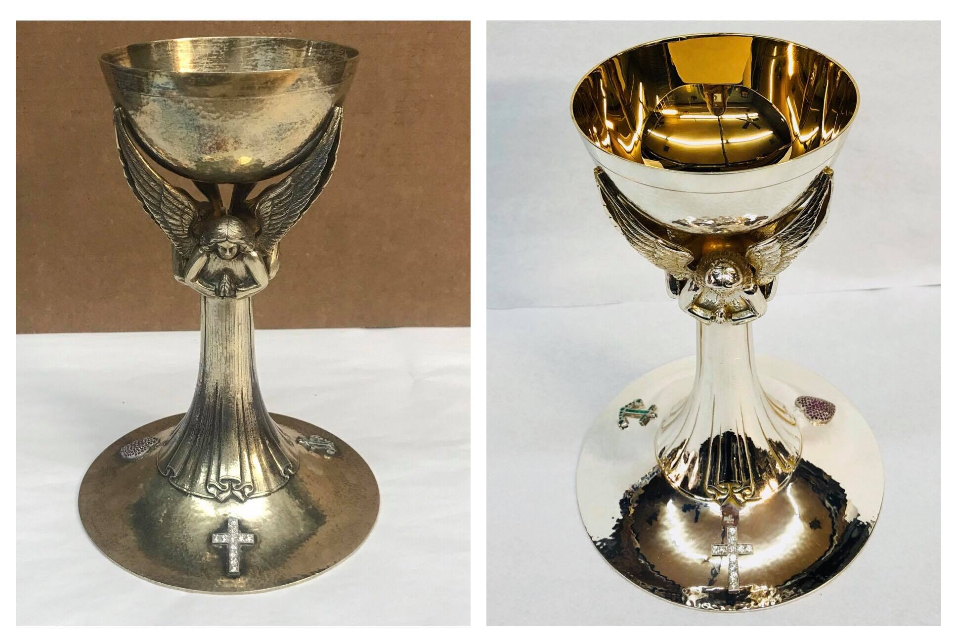 Before/after Sterling chalice