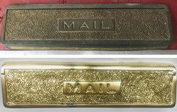 Before/after Brass mail slot