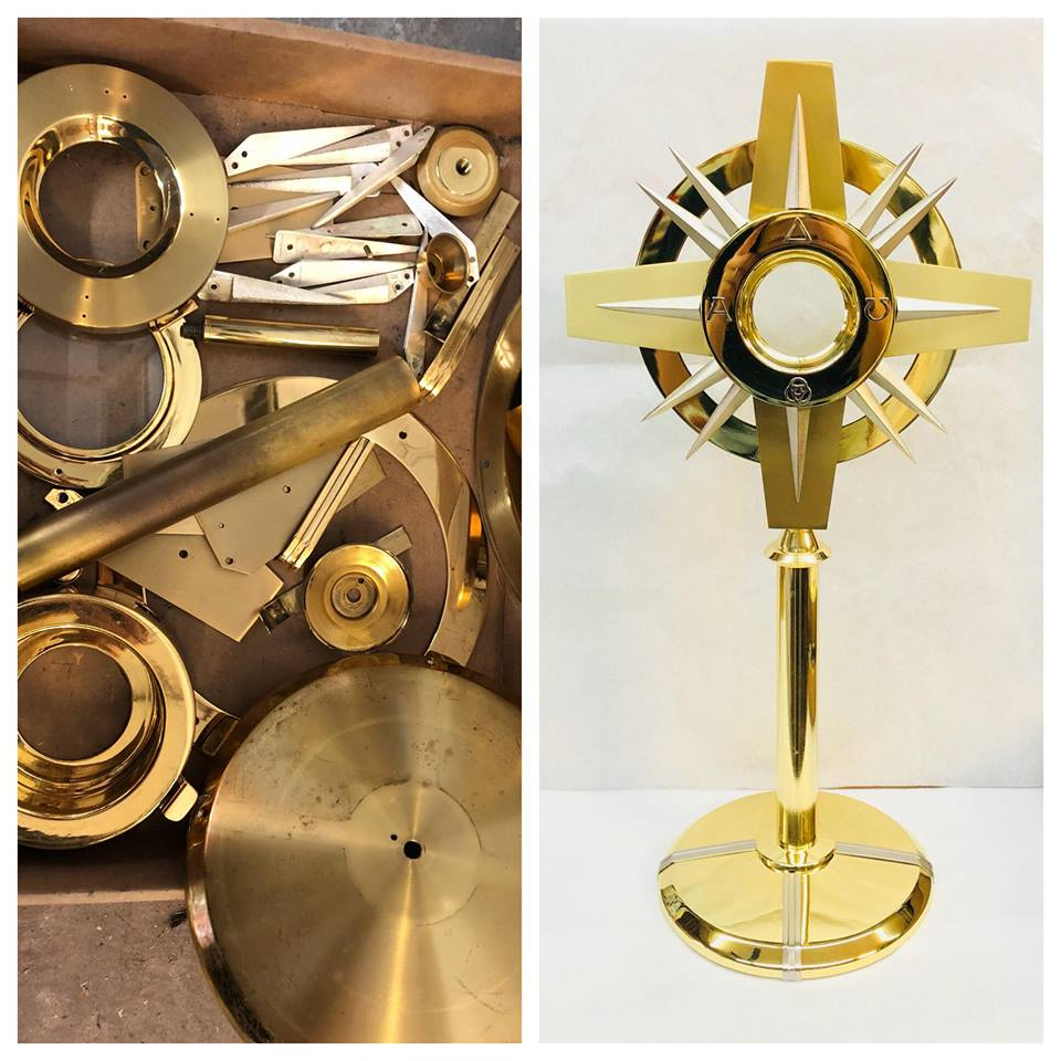 Before/after Brass church monstrance