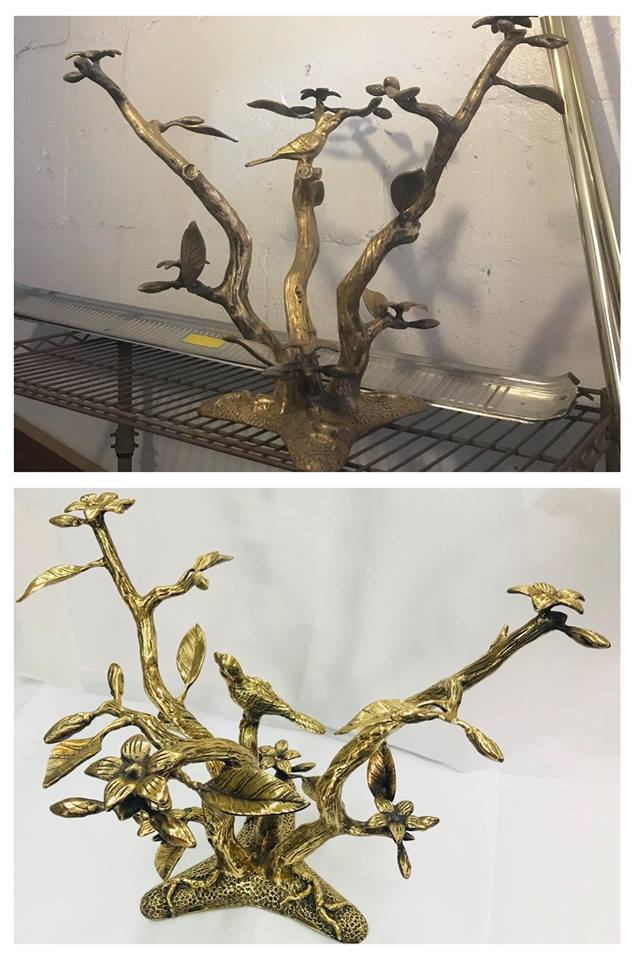 Before/after Brass bird table