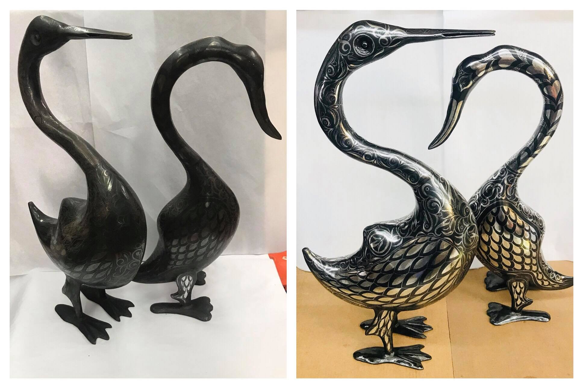 Before/after Silver plated swans