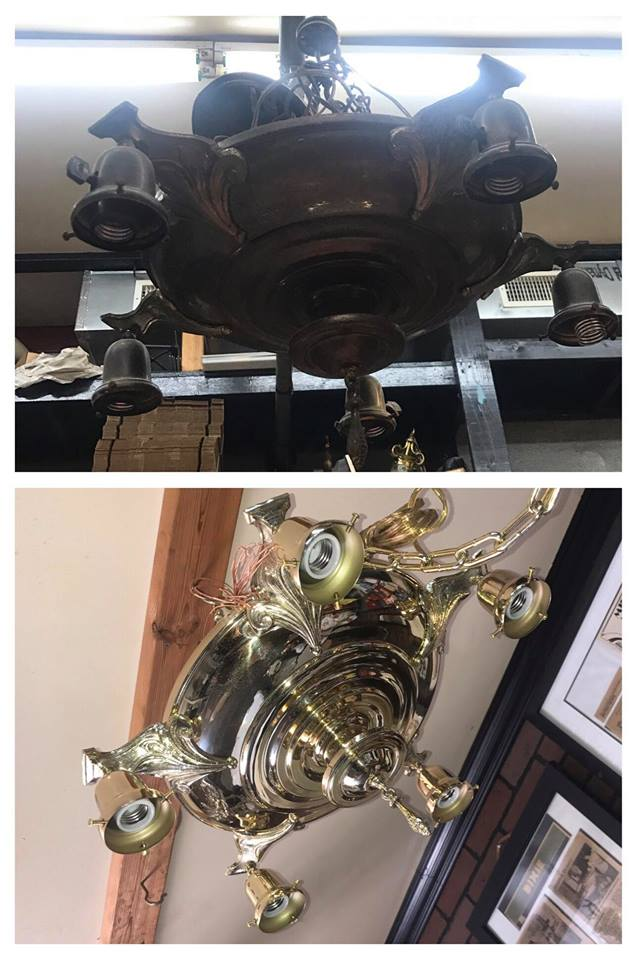 Before/after Brass pan light
