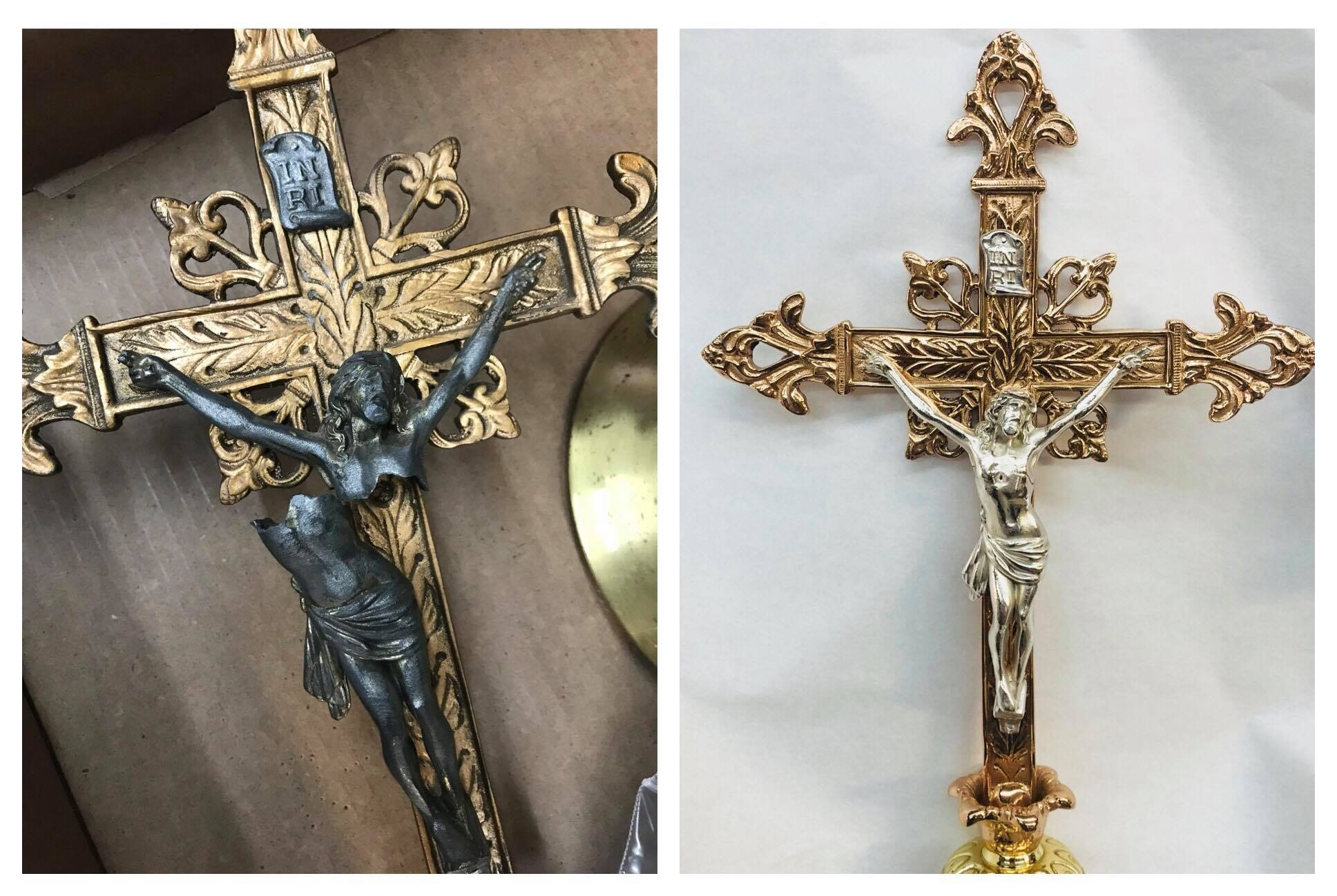 Before/after Brass crucifix