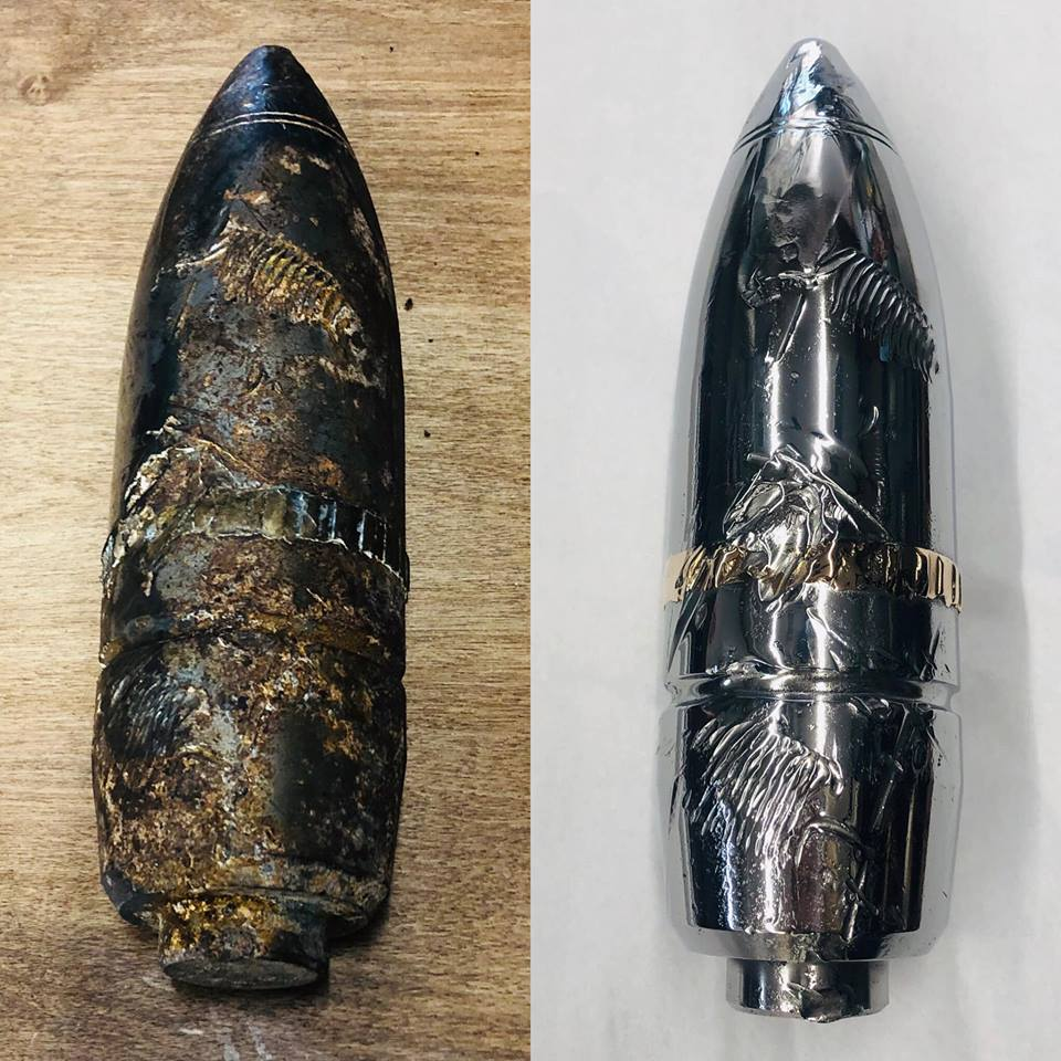 Before/after tank artillery shell