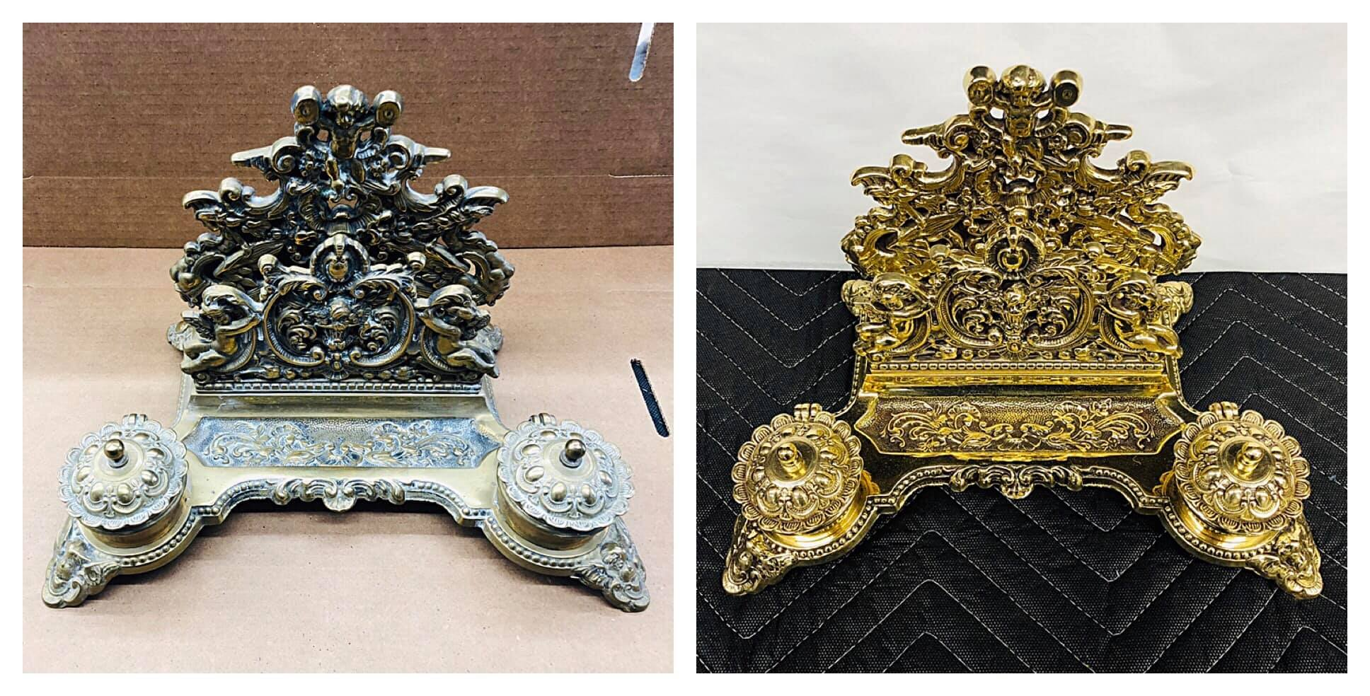 Before/after Brass ink well