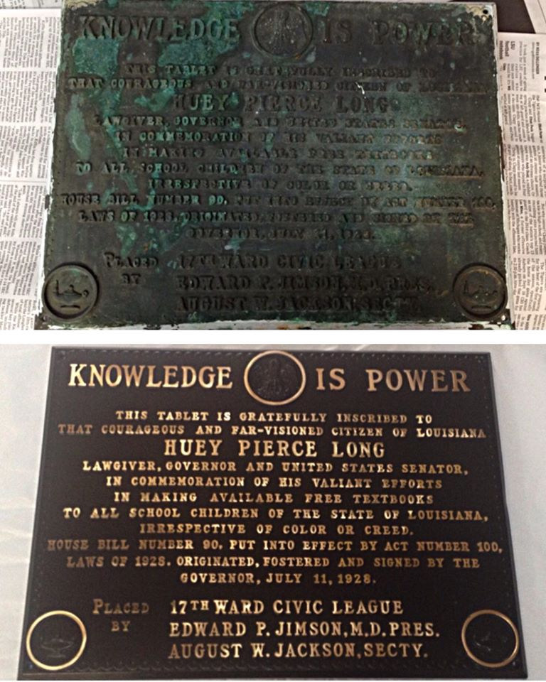 Before/after Bronze plaque