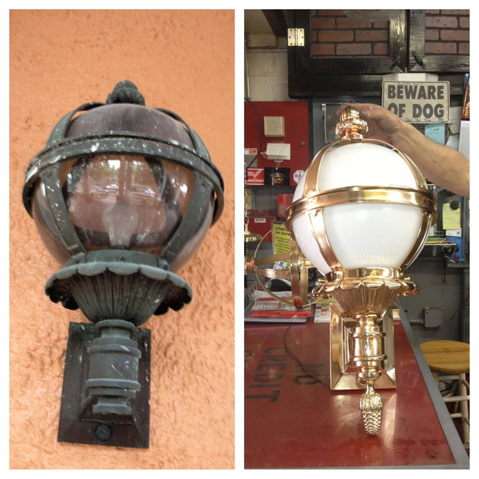before after outside light brass